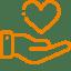 Heart over a hand, help symbol